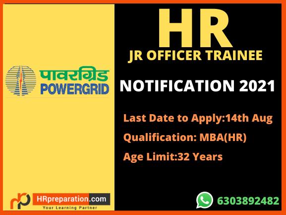 powergrid jr officer trainee 2021 notification
